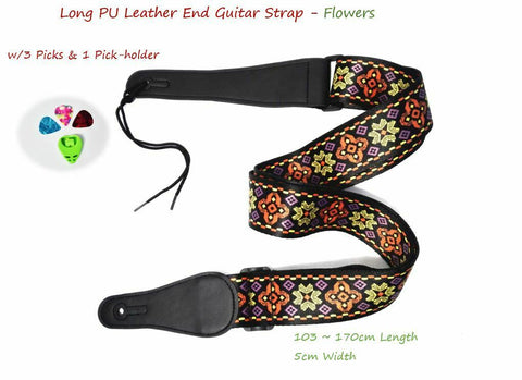 "Long PU Leather End Guitar Strap,Length Adjustable 103~170cm. ""Flowers"""