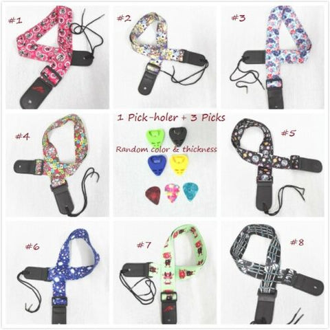 Ukulele Shoulder Strap, Multi-Pattern, Length Adjustable+3 Picks & 1 Pick-Holder