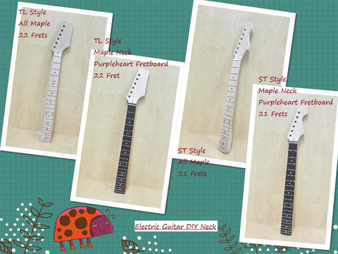 All Maple 22 Frets Electric Guitar Neck,Black Dot Inlays, 4/4 HSTL 19100GNS1B
