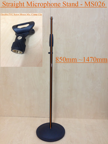 Haze MS026 Cast Iron Round Base Rod Combination Microphone Stand+Clip - Black