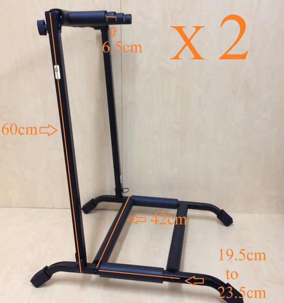 Two (x2) Haze GS014 Metal Structure 3-Guitar-Stand/Storage & Display Rack,Black,Foldable