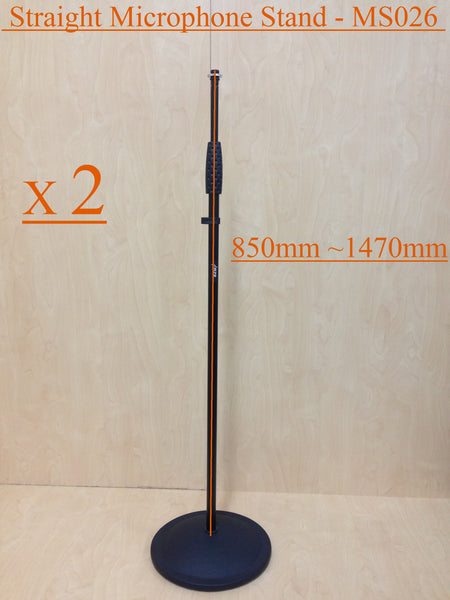 Two (x2) Haze MS026 Cast Iron Round Base Rod Combination Microphone Stand-Black