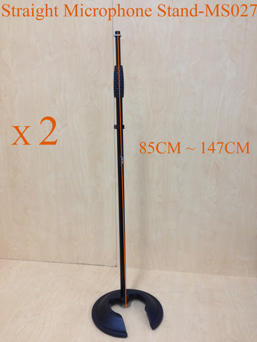 2 x Haze MS027 Stackable Cast Iron Round Base,Rod Combination Microphone Stand