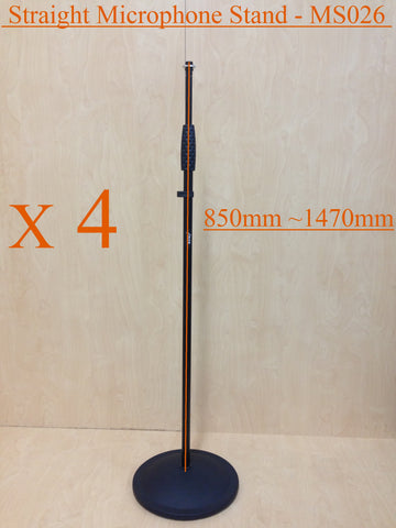 Four (x4) Haze MS026 Cast Iron Round Base Rod Combination Microphone Stand-Black