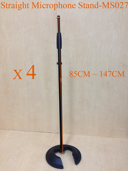 4 x Haze MS027 Stackable Cast Iron Round Base,Rod Combination Microphone Stand