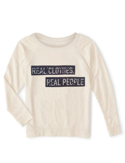 Relax wide neckline organic sweater, eco-friendly ink, Real Clothes Real People graphic, for women, soft and comfortable, athleisure athletic sport life style, made in usa