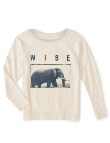 Relax wide neckline sweater is organic and eco-friendly ink, elephant graphic, for women, soft and comfortable, athleisure athletic sport life style, made in usa