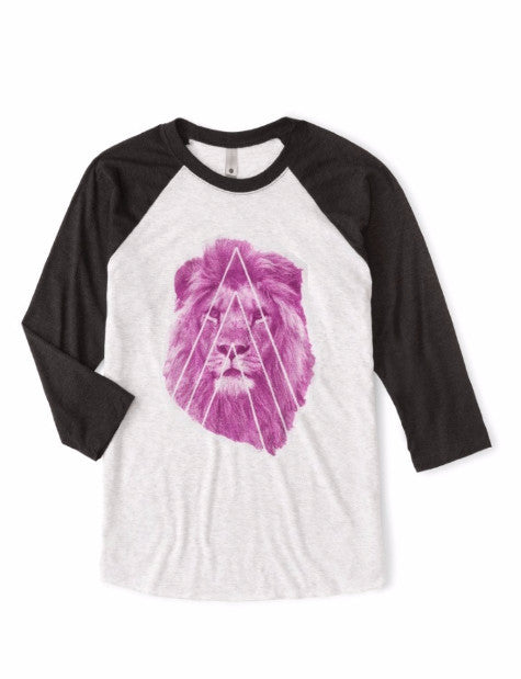 Baseball jersey classic shirt, handcrafted Pink Lion graphic, eco-friendly, sustainable, organic fabric, ath-leisure, athletic men, women, and unisex.