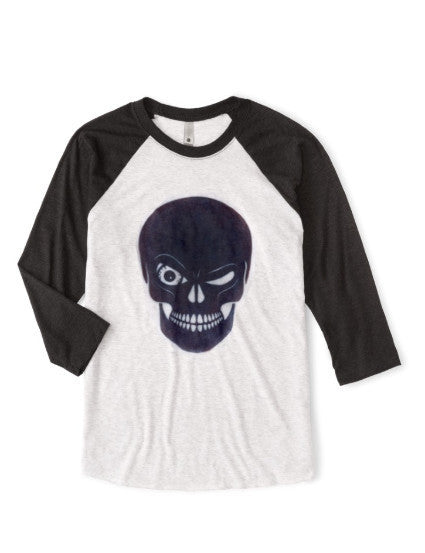 Baseball jersey classic shirt, handcrafted Winking Skull graphic, eco-friendly, sustainable, organic fabric, athleisure, athletic men, women, and unisex.