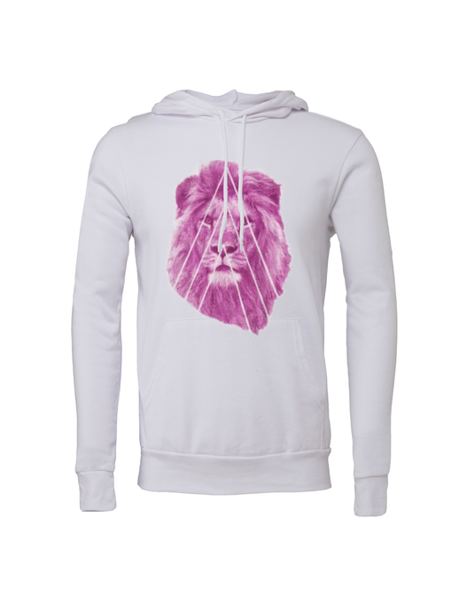 Unisex Pink Street Lion Fleece Hoodie - BY DEFINITION