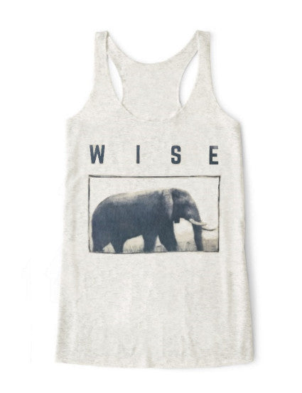 Wise Elephant Tank Top: ultimate modern fit, durable, breathable for workout or for casual, ring-spun cotton, recycled fabric, eco-friendly, sustainable