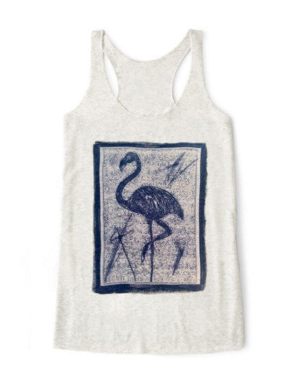 Dotted Flamingo' Tank Top: ultimate modern fit, durable, breathable for workout or for casual, ring-spun cotton, recycled fabric, eco-friendly, sustainable