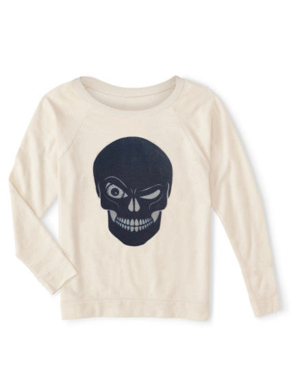 Relax wide neckline sweater is organic and eco-friendly ink, skull graphic, for women, soft and comfortable, athleisure athletic sport life style, made in usa