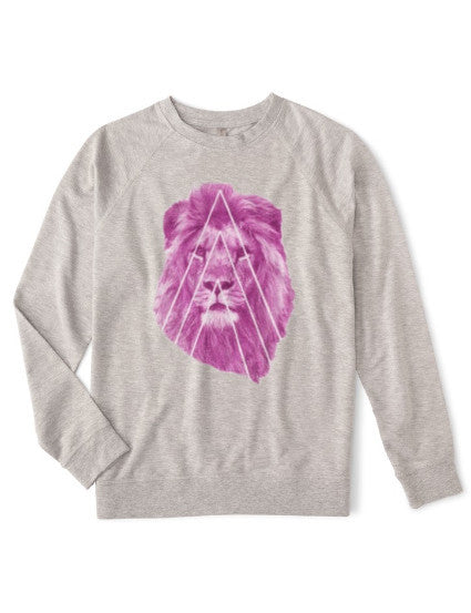 Organic fleece sweatshirt with eco-friendly graphic ink lion for the athleisure sport, comfortable and soft, both men and women with plus size available.