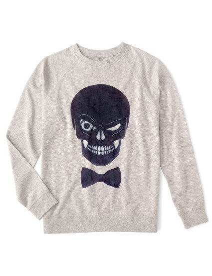 Organic fleece sweatshirt with eco-friendly graphic ink skull for the athleisure sport, comfortable and soft, both men and women with plus size available.