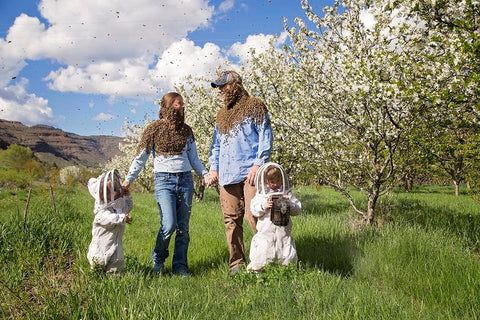 a beekeeping family in the apple blossoms, Kimberly, OR