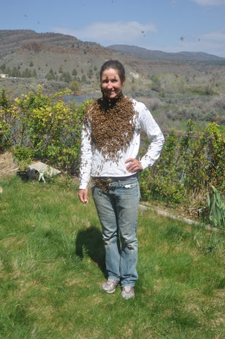 Liz with a bee beard