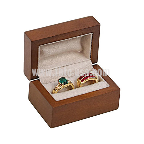 HWR5  Classic Premium Brown Hardwood Double Ring Box