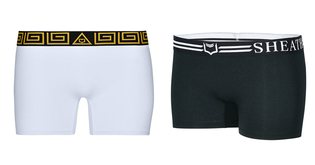 Photo of SHEATH Women's Black Boxer Briefs and SHEATH Women's White & Gold Boxer Briefs