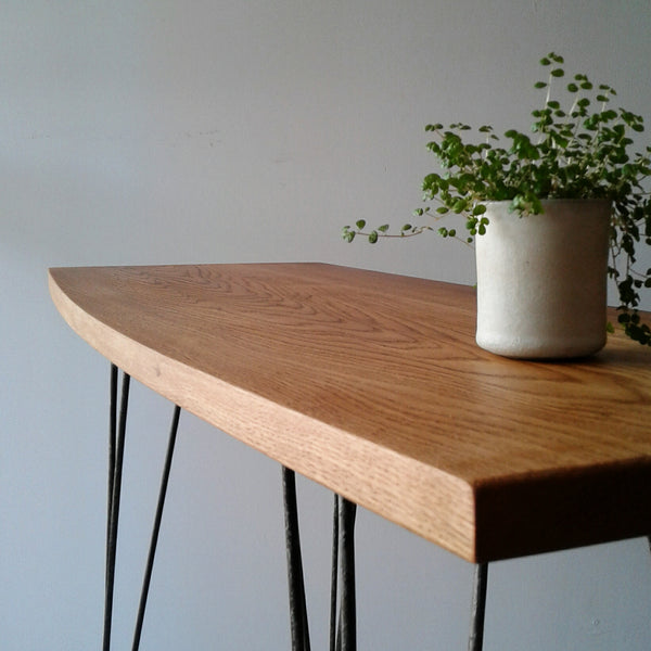 a minimal styled Oak and Steel Console table made in Hawkes Bay New Zealand from recycled oak