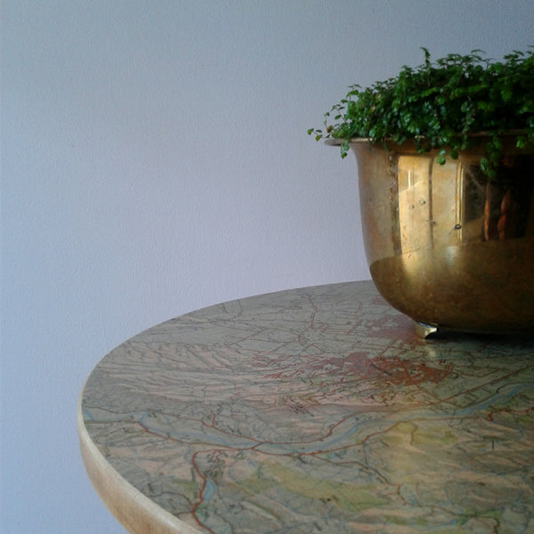Map topped Oak side table with a vintage feel