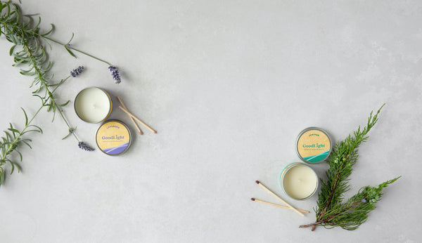 GoodLight lavender and juniper scented candles with essential oil