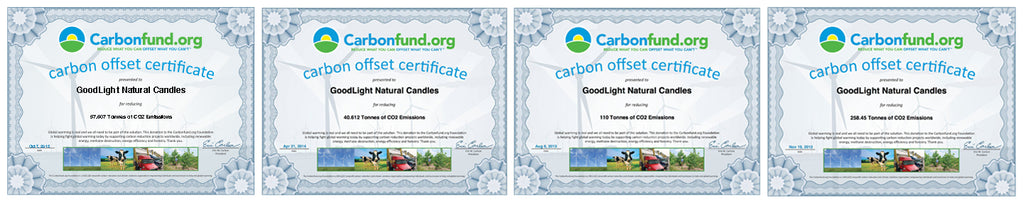 Carbonfund carbon offset certificates for GoodLight Natural Candles