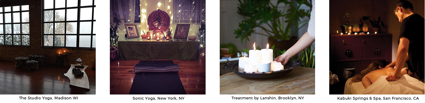 burn GoodLight at your yoga studio, spa, clean burning candles, paraffin free, non toxic, pillars, votives, tea lights,