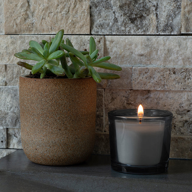 Unscented Grey Poured Glass Votive