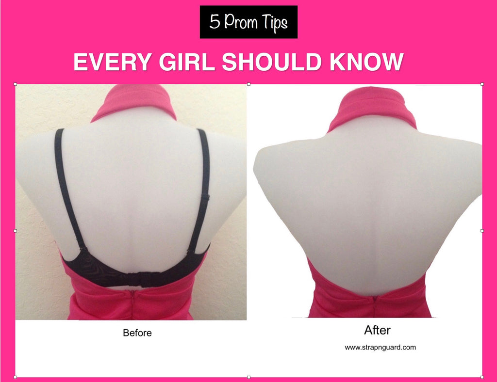 prom tips illustrations, idea for prom, showing before after with clear bra straps,