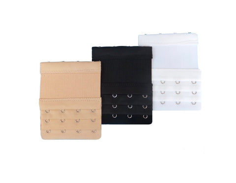 white, beige, black 4 hook elastic bra extenders, multi 3 three pack bra extenders, Four hook bra extender for adding extra size to bra