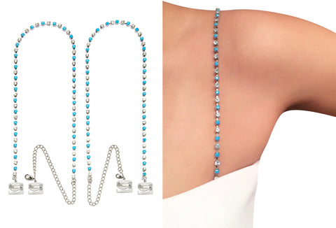 Luxury Aqua Crystal Straps for Strapless Dress, Tops, Gowns_by Pin Straps