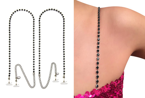 Luxurious Black Rhinestones Crystal Straps for Strapless Dress, Tops, Gowns_by Strap N Guard Pin Straps