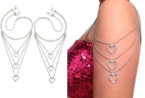 Luxury Tier Hearts Crystal Shoulder Straps_Clip-On Pin Straps