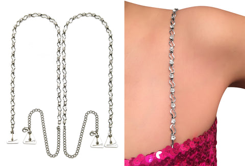 Luxury Wavy Crystal Silver Straps for Strapless Dress, Tops, Gowns_by Pin Straps