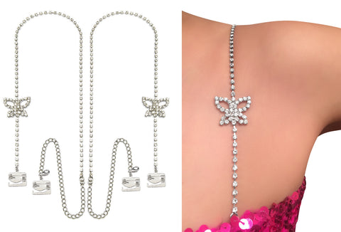 Luxury Butterfly Dress Rhinestones Bra Straps,  Pin Latch Bra Hooks Secures Strapless Dress,