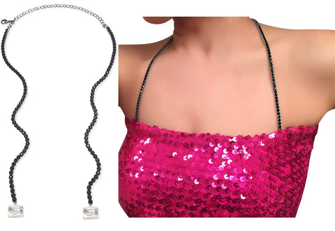 Halter Crystal Strap Black, Adjustable, Open Back Strap for adding to Strapless Tops, Dress, Gowns