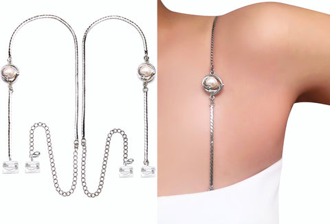 Gorgeous Pearl Statement Straps with Pin-Latch Bra Hooks for Dress, Tops, Gowns
