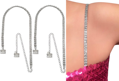 Splendid Two Row Crystal Straps w/ Space Bar (with Pin-Latch Bra Hooks) for Dress, Tops, Gowns