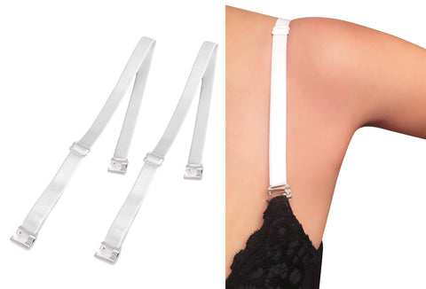 White Replacement Bra Straps_with Clip On Pin Latch Bra Hooks_AS Seen On TV_Pin Straps
