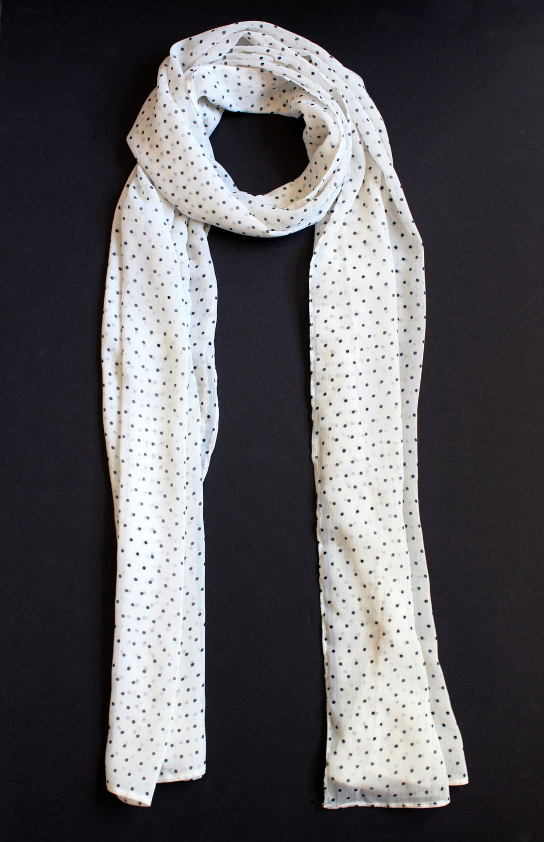 Off-White & Black Polka Dots - Georgette