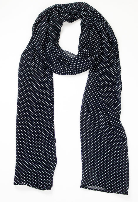 Navy & White Polka Dots - Georgette