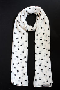 Off-White & Black Medium Polka Dots - Georgette