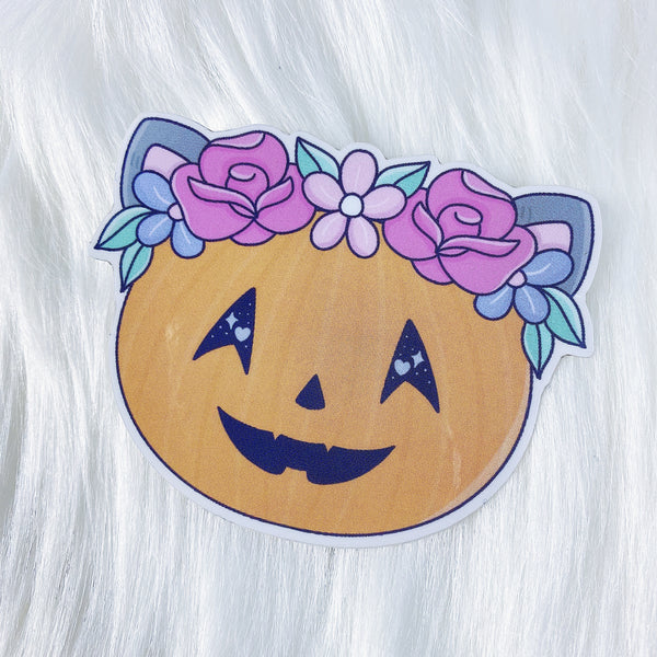 Pumpkin Kitty Head CLEAR Vinyl Sticker Die Cut