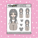 Tattooed Thumper Babe Doodle Sticker | Choose your Skin Tone!