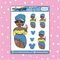 Tattooed Flounder Babe Doodle Sticker | Choose your Skin Tone!
