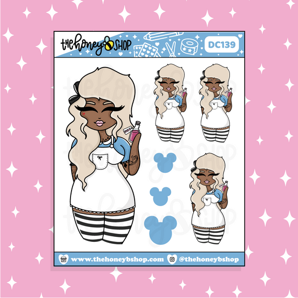 Tattooed Alice Babe Doodle Sticker | Choose your Skin Tone!