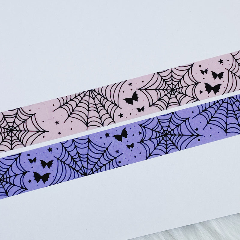 Pastel Pink Spider Webs + Bat Bows 15MM Washi