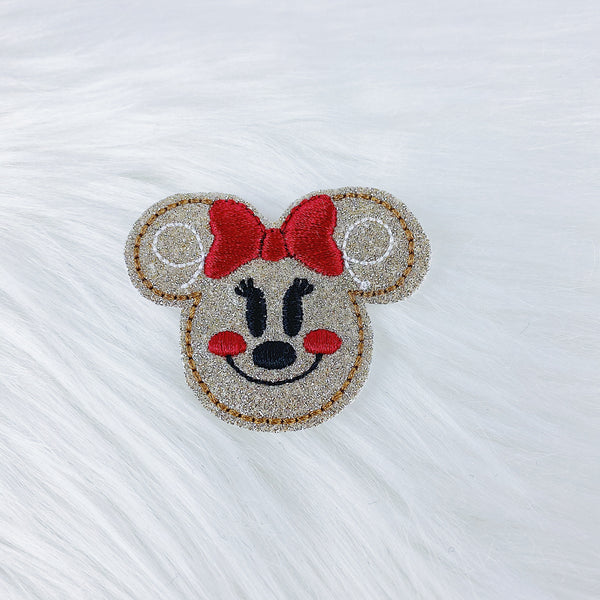 Glitter Minnie Gingerbread Feltie | CHOOSE YOUR HARDWARE
