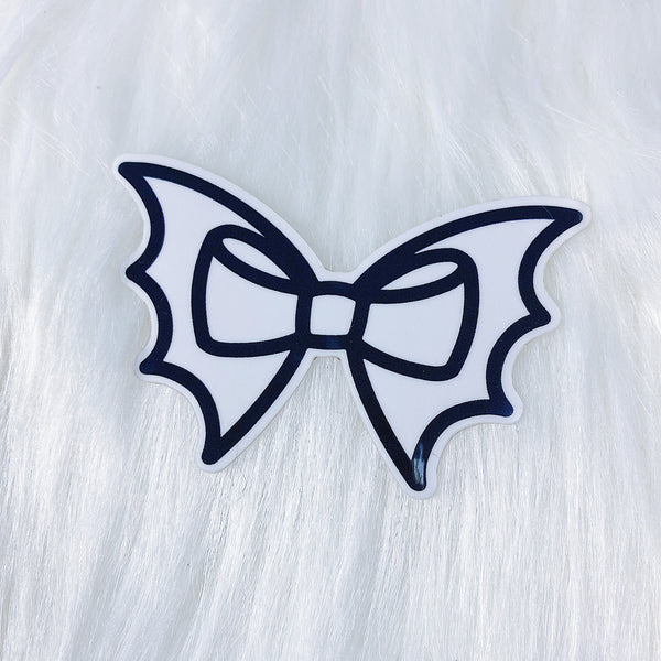 Black Bat Bow CLEAR Vinyl Sticker Die Cut